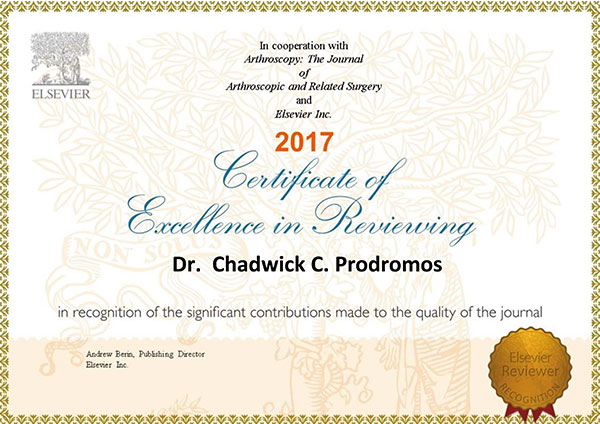 Awarded a certificate for excellence in reviewing for the Arthroscopy Journal